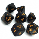 Black & Gold Opaque Polyhedral 7 Dice Set